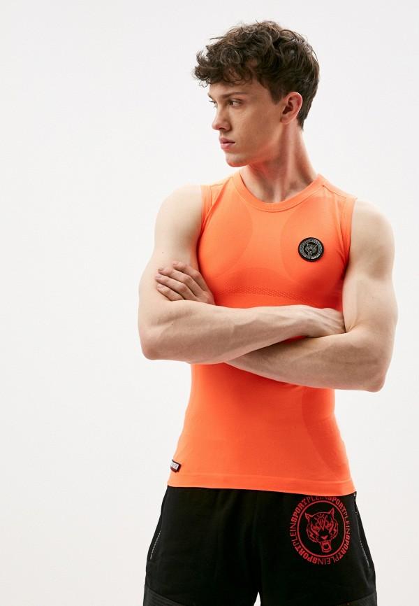 мужская майка plein sport, оранжевая