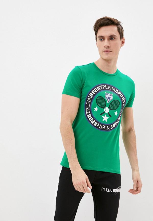 мужская футболка с коротким рукавом plein sport, зеленая