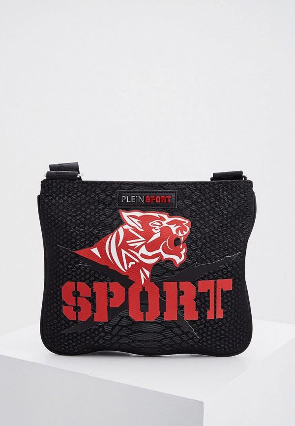 мужская сумка через плечо plein sport, черная