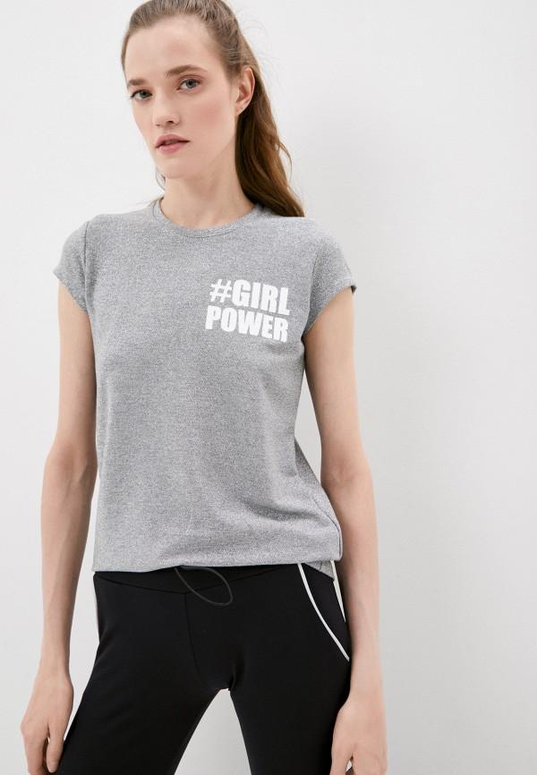женская футболка plein sport, серебряная