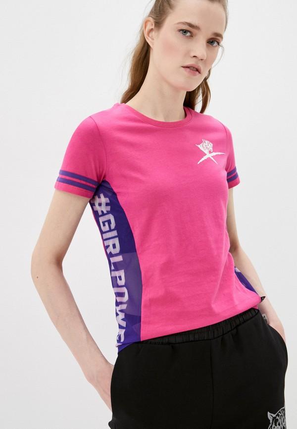 женская футболка plein sport, розовая