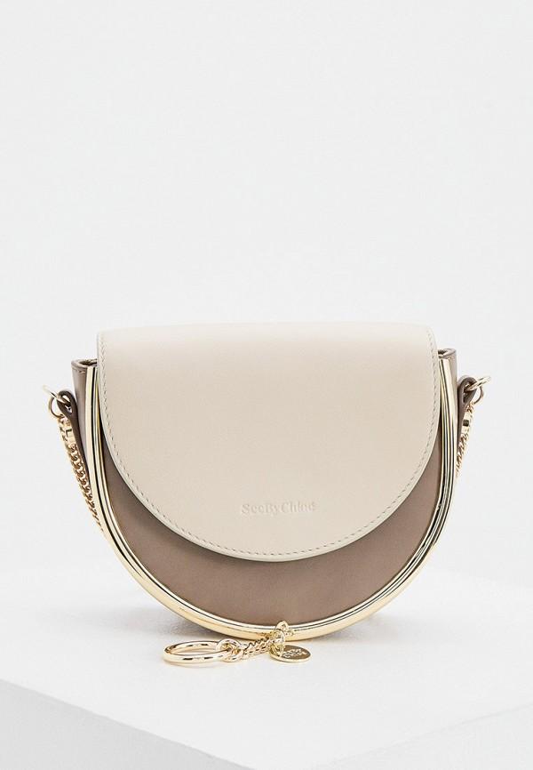 женская сумка через плечо see by chloe, бежевая