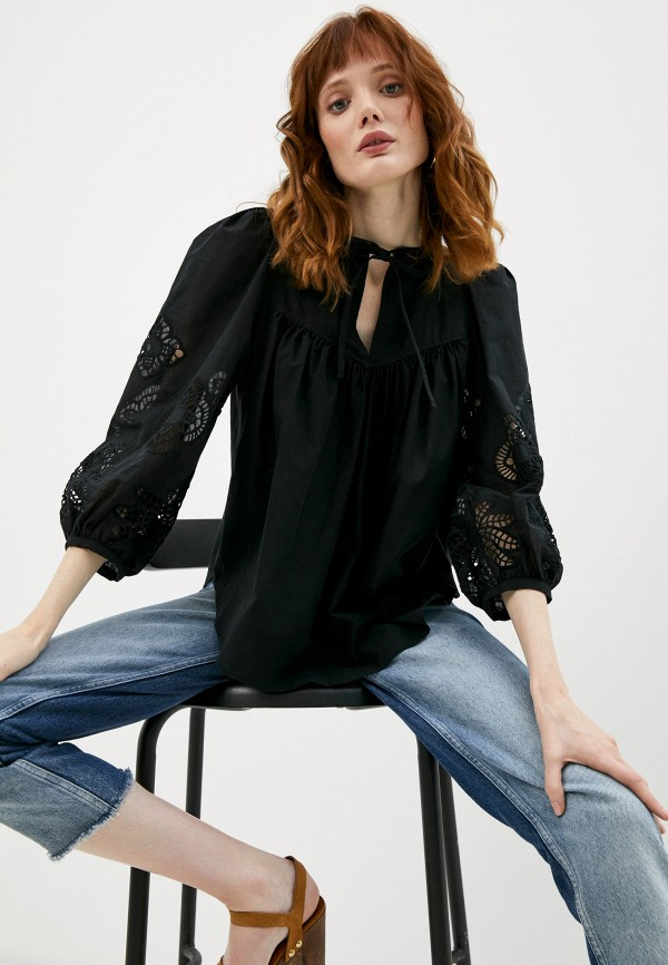 женская блузка с длинным рукавом see by chloe, черная