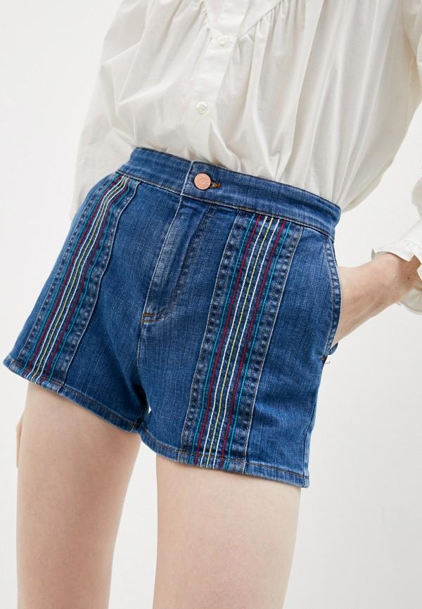 женские джинсовые шорты see by chloe, синие