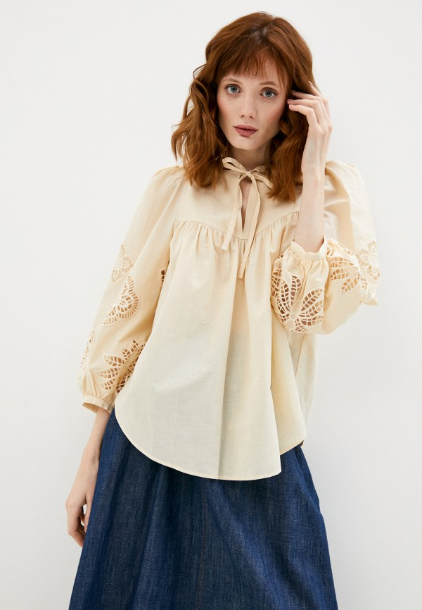 женская блузка see by chloe, бежевая