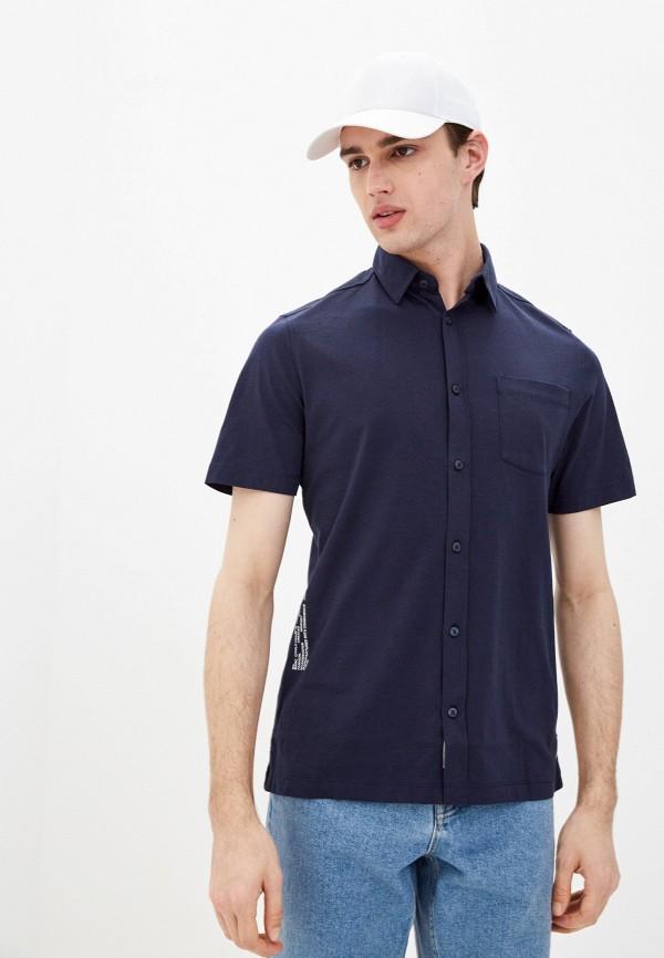 мужская рубашка с коротким рукавом marc o'polo denim, синяя