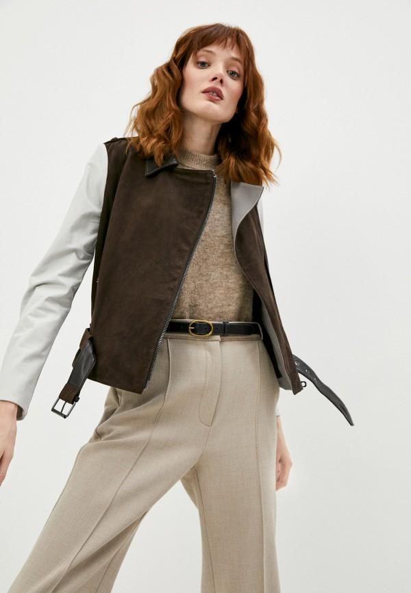 женская куртка косухи emporio armani, коричневая