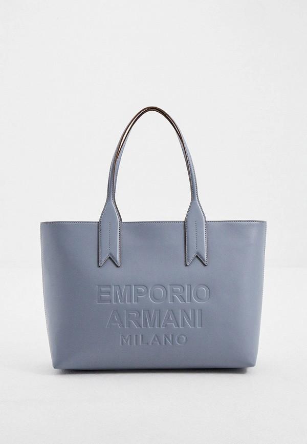 женская сумка-шоперы emporio armani, серая