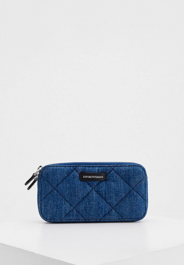женская сумка через плечо emporio armani, синяя