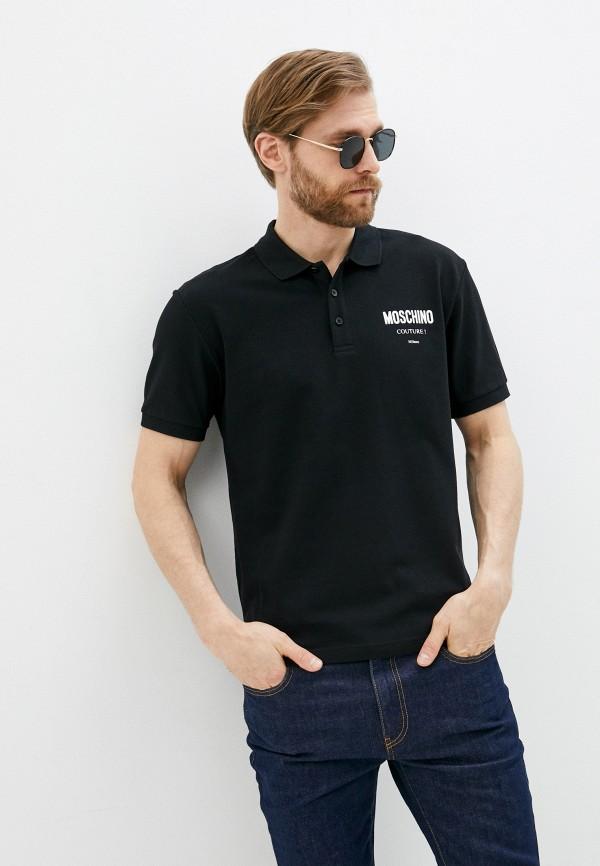 мужское поло moschino couture, черное