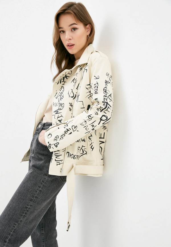 женская куртка косухи diverius, бежевая