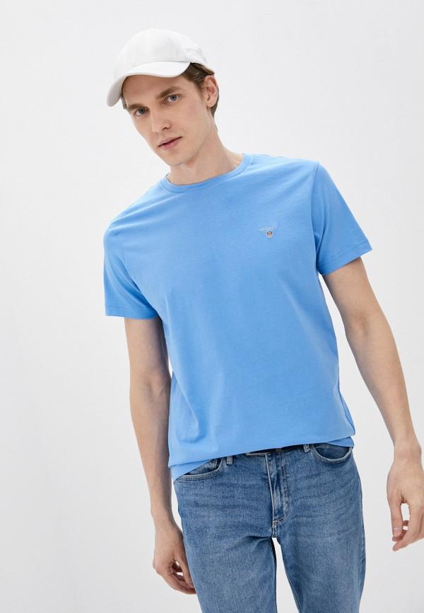 мужская футболка gant, голубая