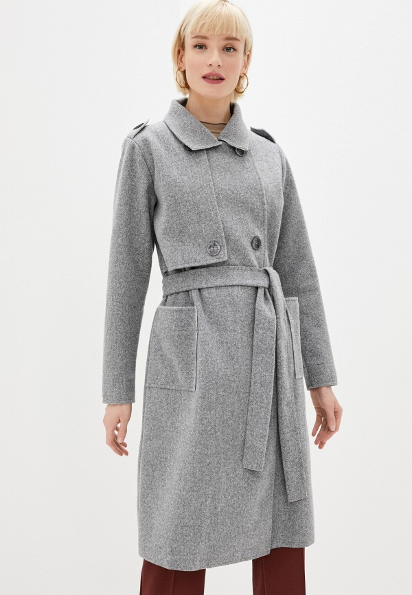 женское пальто moki, серое