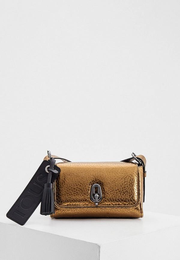 женская сумка через плечо tous, золотая