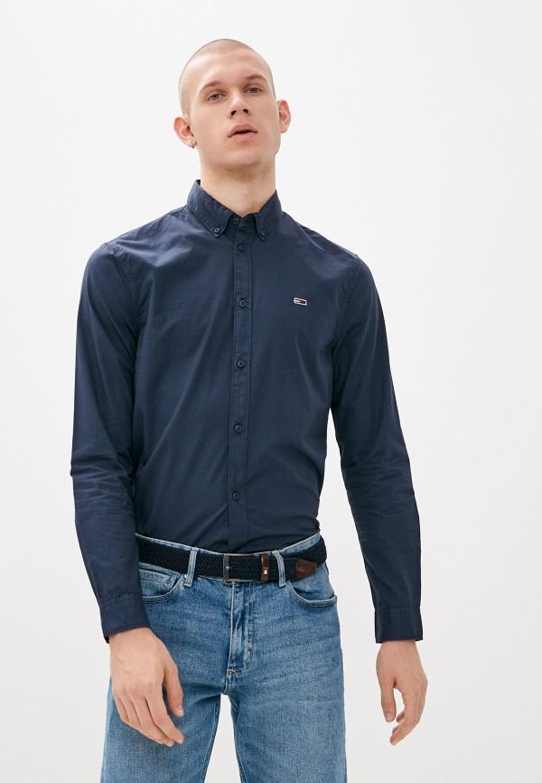 мужская рубашка с длинным рукавом tommy jeans, синяя