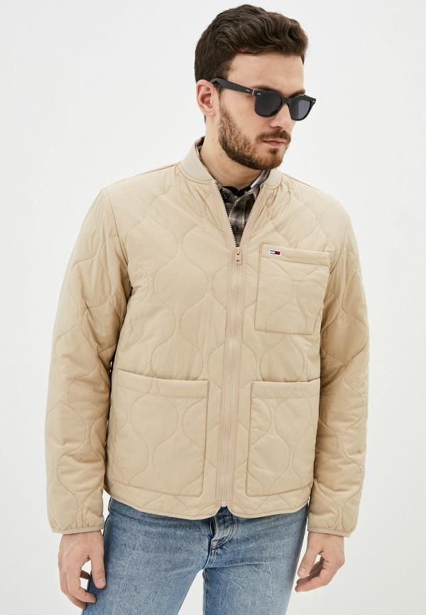 мужская куртка tommy jeans, бежевая
