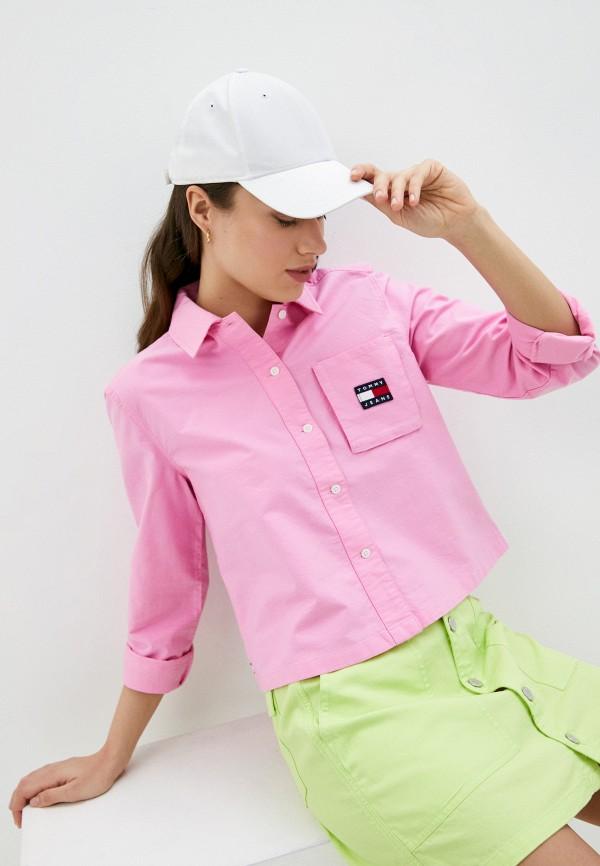 женская рубашка с длинным рукавом tommy jeans, розовая