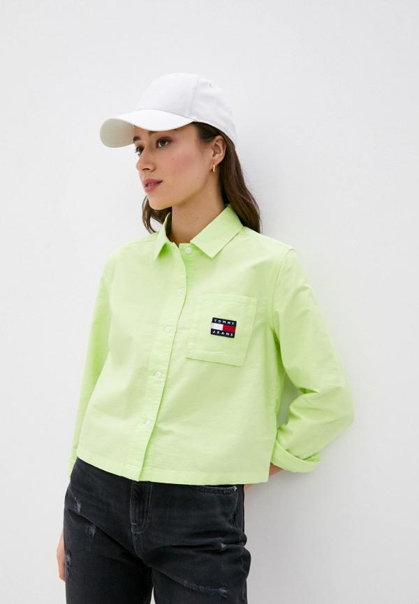 женская рубашка с коротким рукавом tommy jeans, зеленая