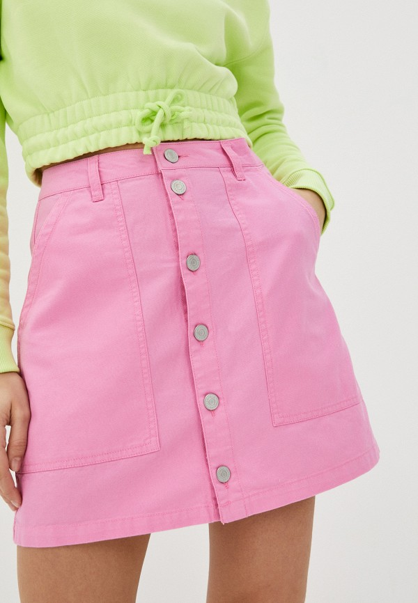 женская прямые юбка tommy jeans, розовая