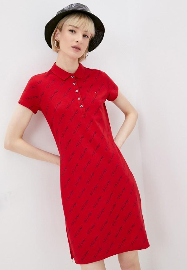 женское платье-футболки tommy hilfiger, красное