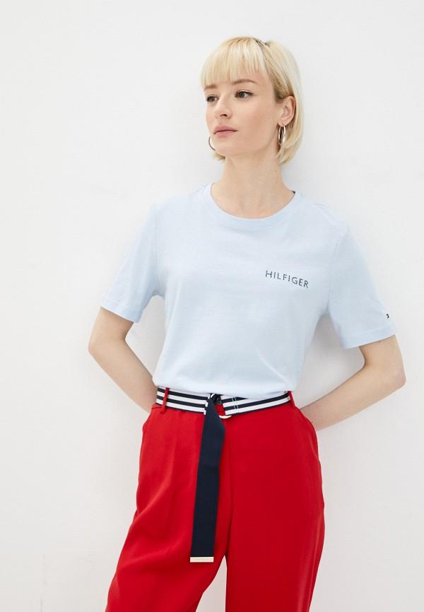женская футболка tommy hilfiger, голубая