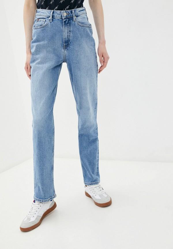 женские прямые джинсы tommy hilfiger, голубые