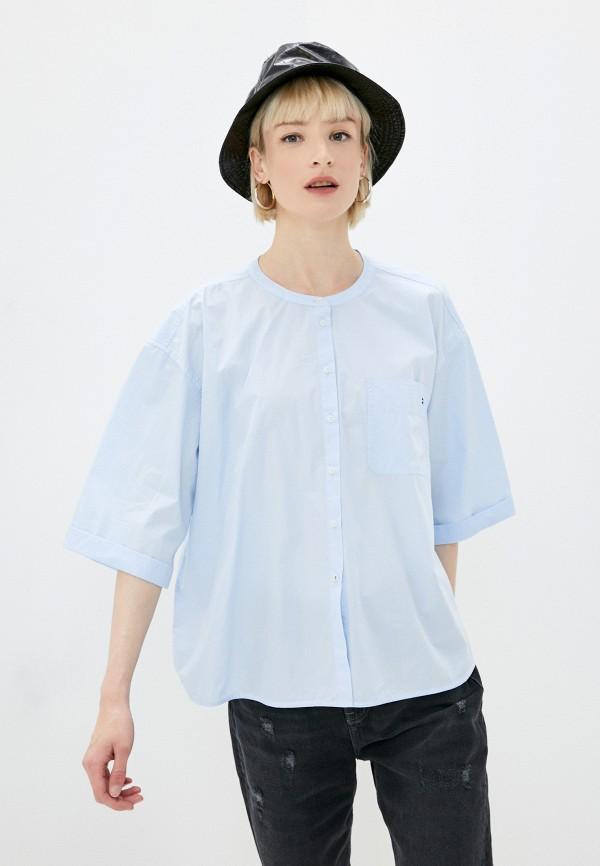 женская рубашка с коротким рукавом tommy hilfiger, голубая