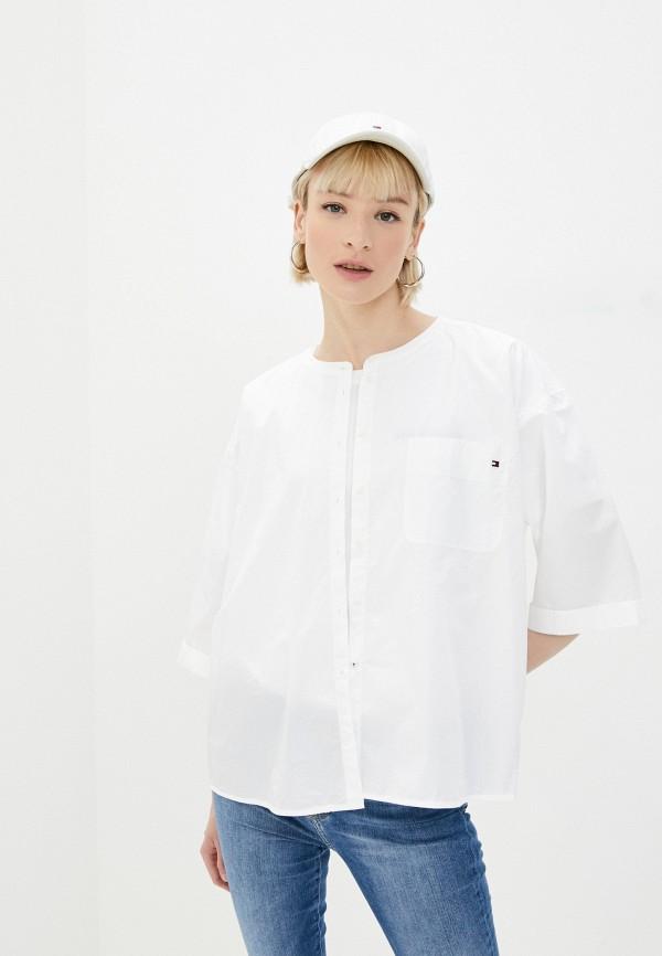 женская рубашка с коротким рукавом tommy hilfiger, белая