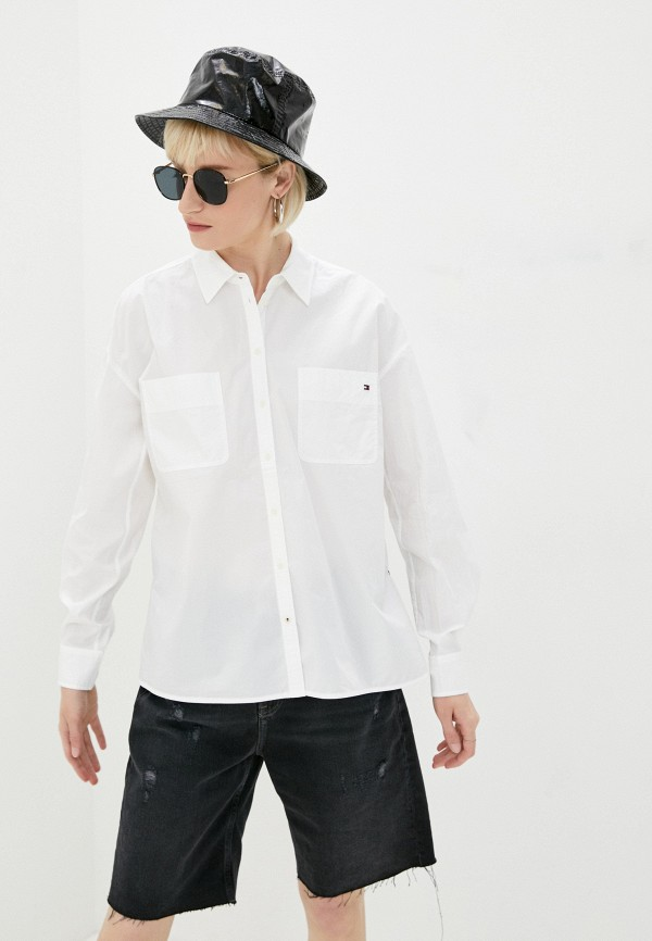 женская рубашка с длинным рукавом tommy hilfiger, белая