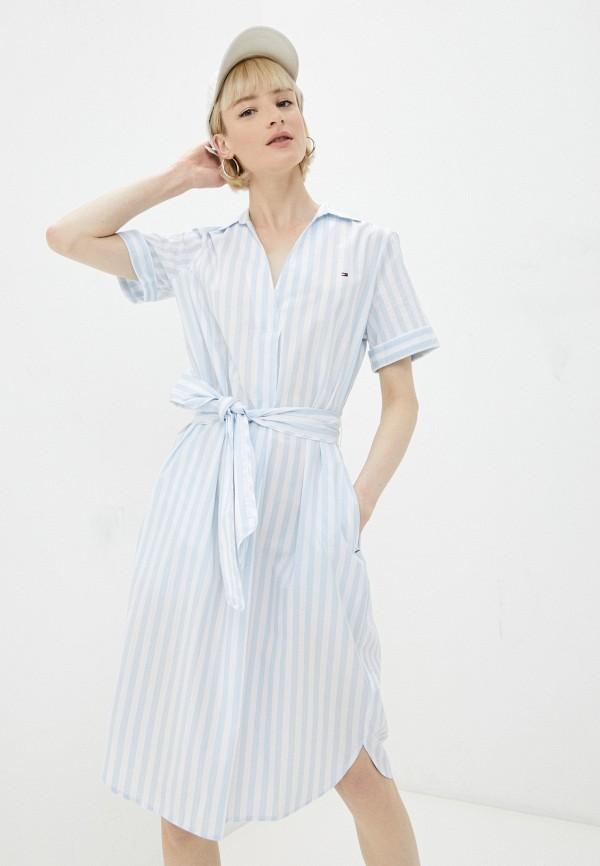 женское повседневные платье tommy hilfiger, голубое