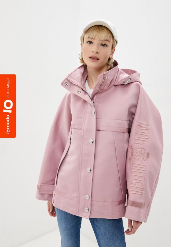 женская куртка tommy hilfiger, розовая