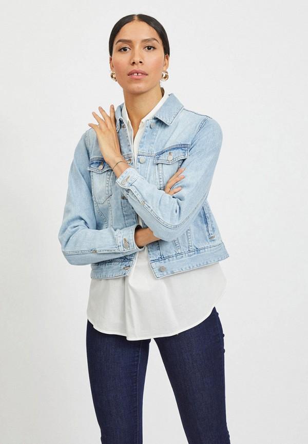 женская джинсовые куртка vila, голубая