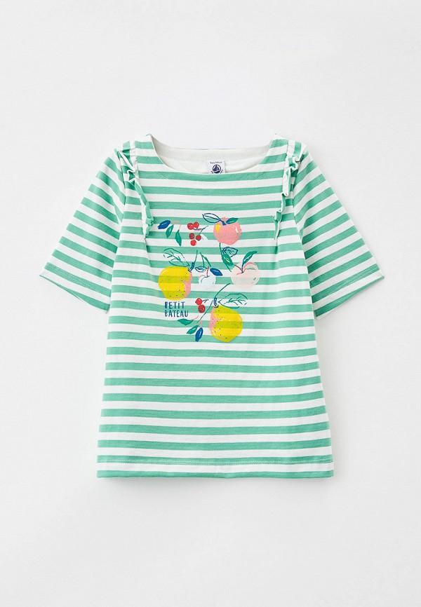 футболка с коротким рукавом petit bateau для девочки, зеленая
