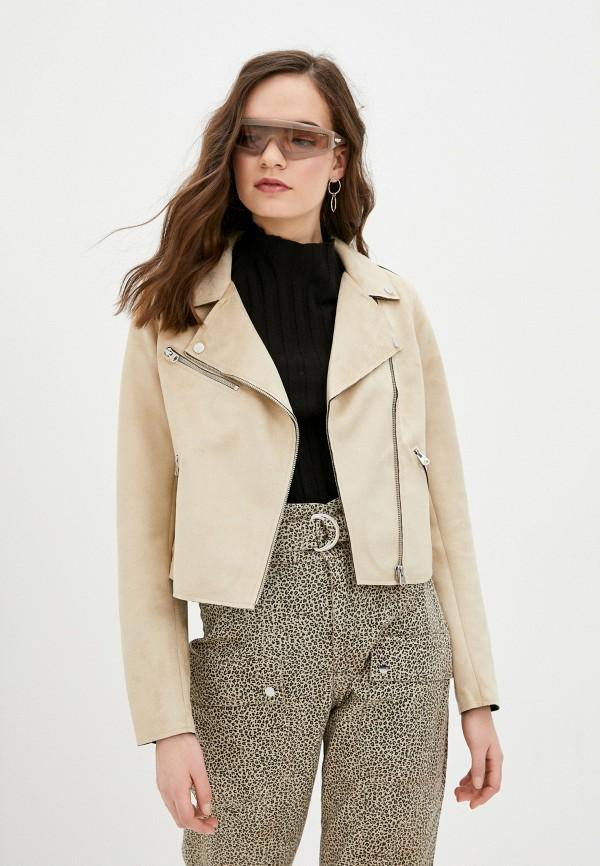 женская куртка косухи q/s designed by, бежевая