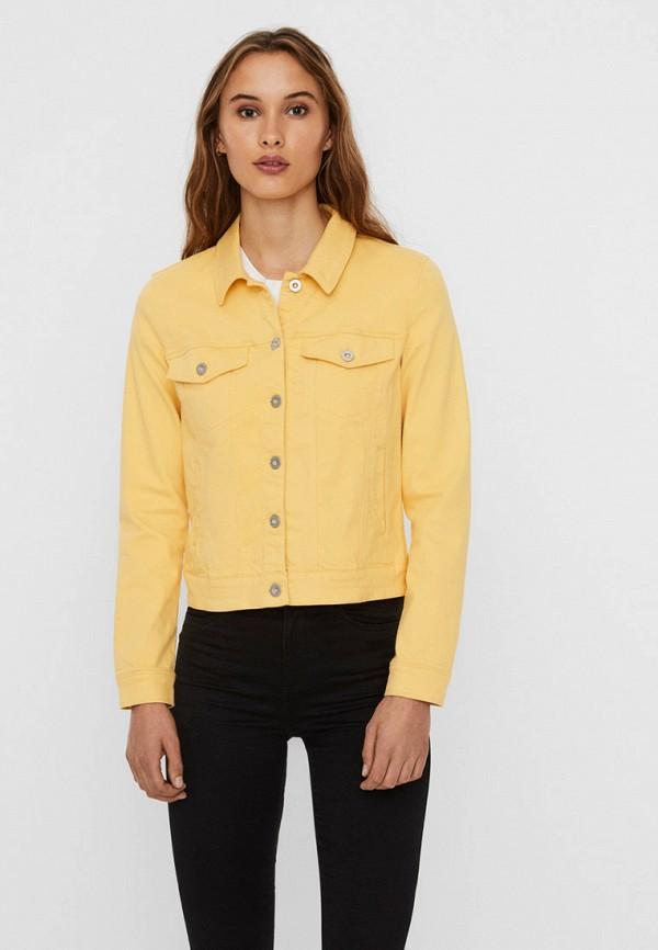 женская джинсовые куртка vero moda, желтая