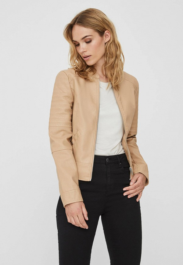 женская кожаные куртка vero moda, бежевая