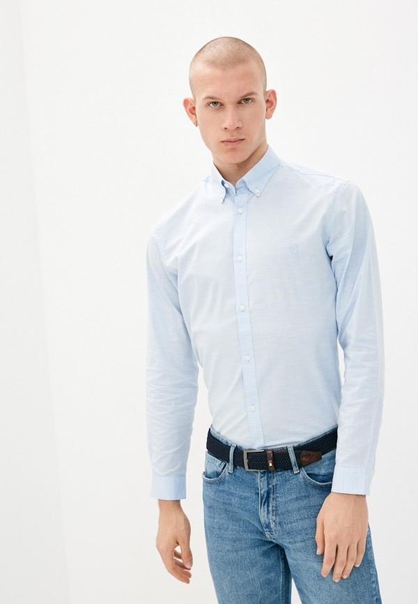 мужская рубашка с длинным рукавом jack & jones, голубая