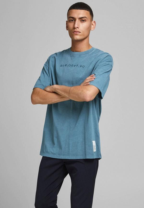мужская футболка с коротким рукавом jack & jones, синяя