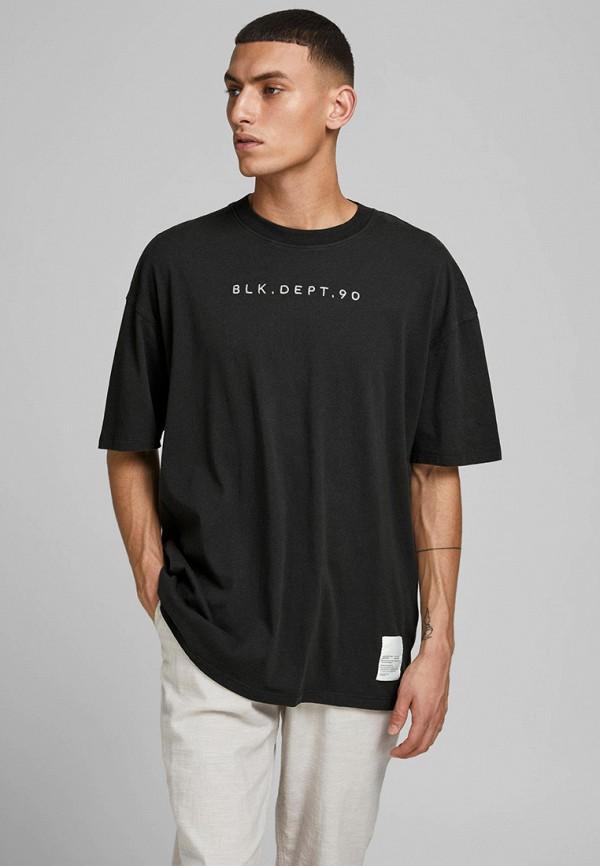 мужская футболка с коротким рукавом jack & jones, черная