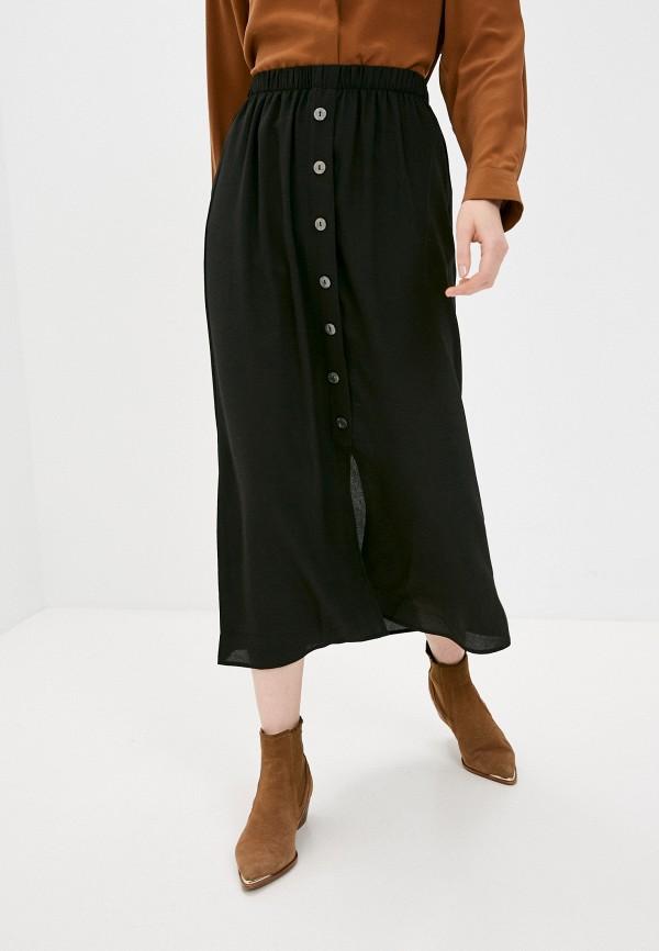 женская юбка-трапеции only, черная