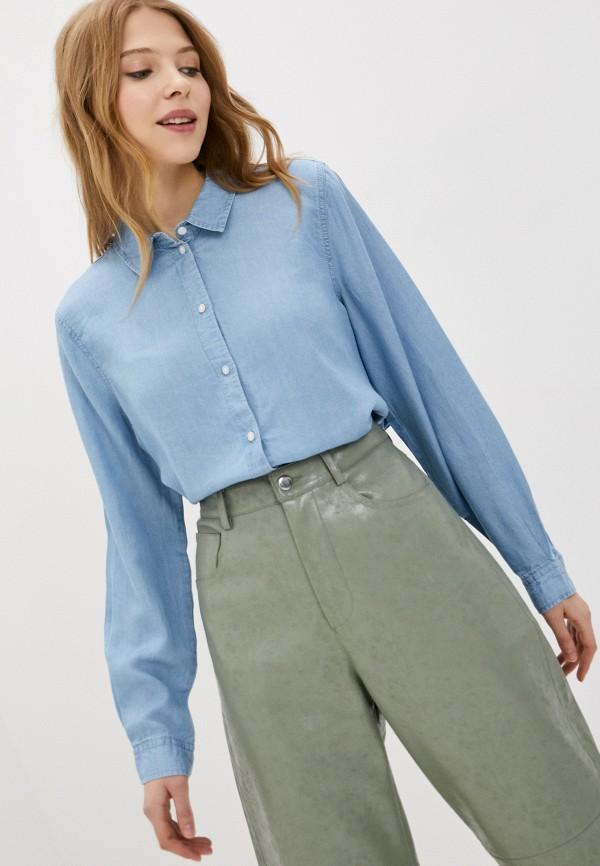 женская рубашка с длинным рукавом jacqueline de yong, голубая