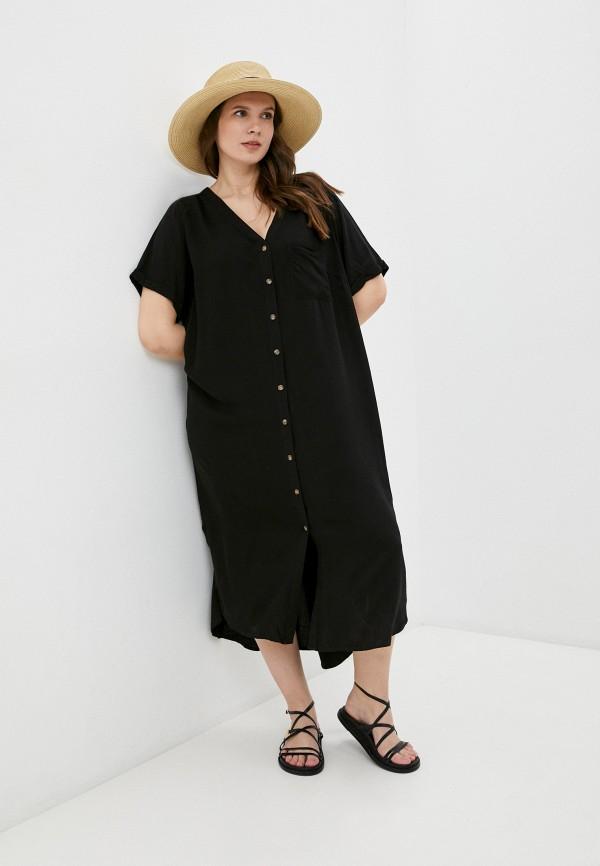 женское платье-рубашки only carmakoma, черное