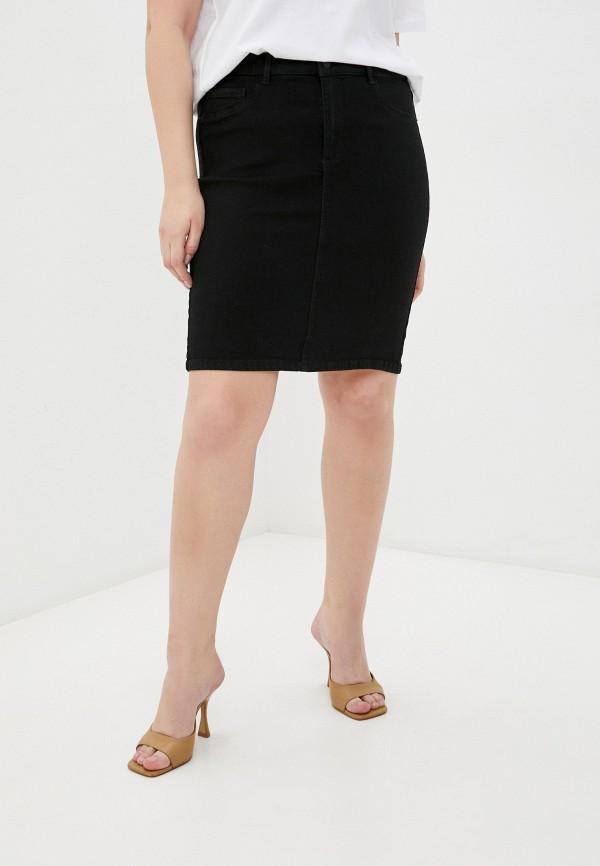 женская джинсовые юбка only carmakoma, черная