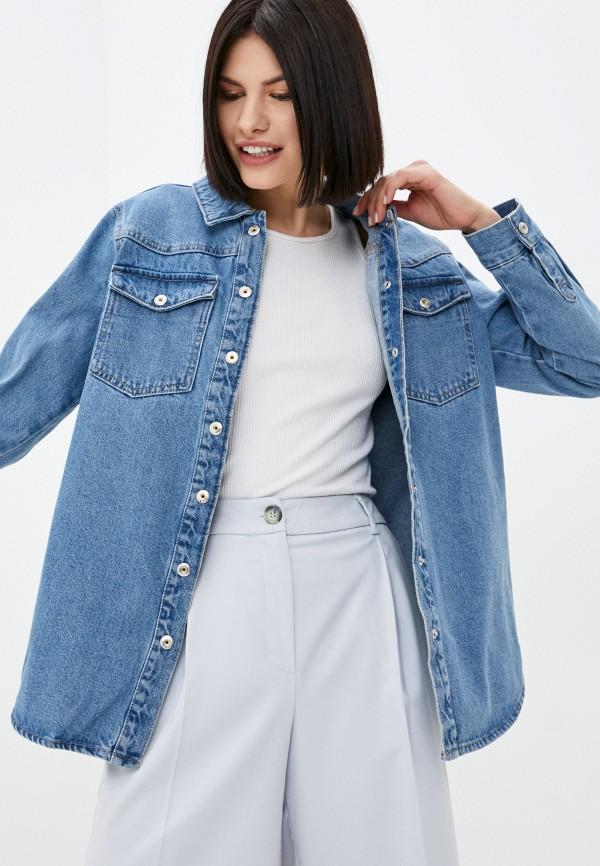 женская джинсовые куртка pieces, голубая