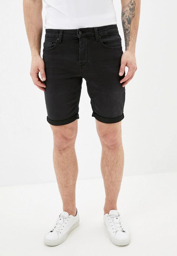 мужские джинсовые шорты only & sons, черные