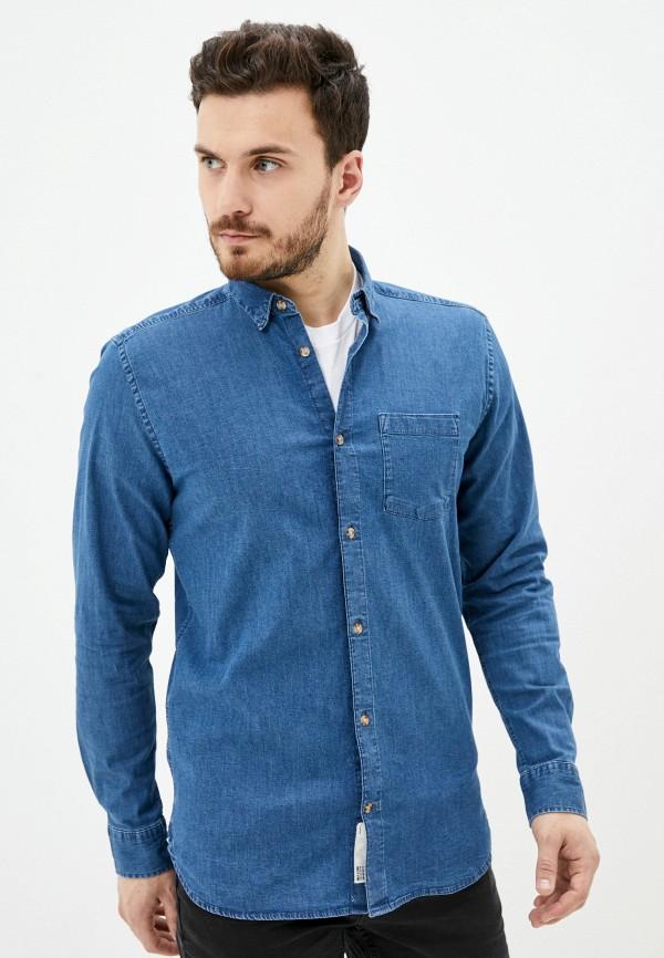 мужская джинсовые рубашка only & sons, синяя