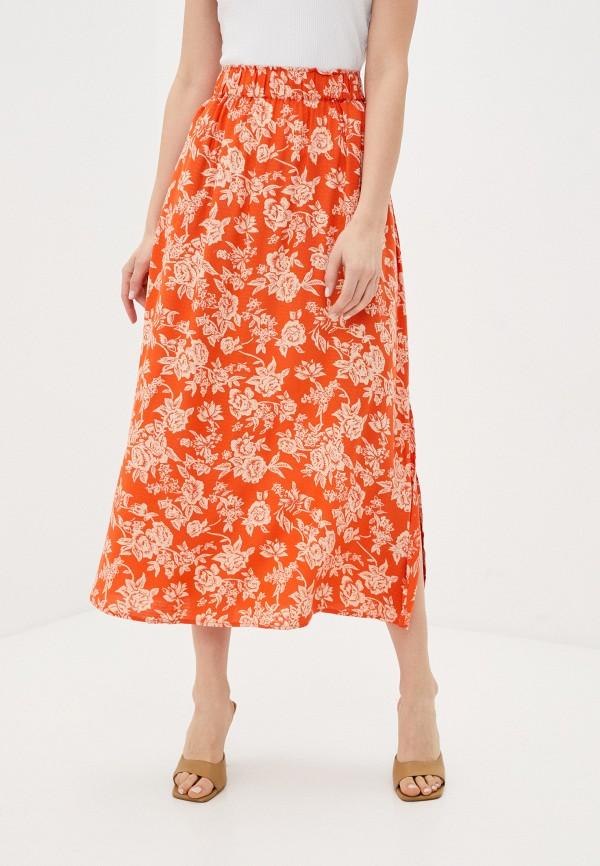 женская юбка-трапеции y.a.s, оранжевая