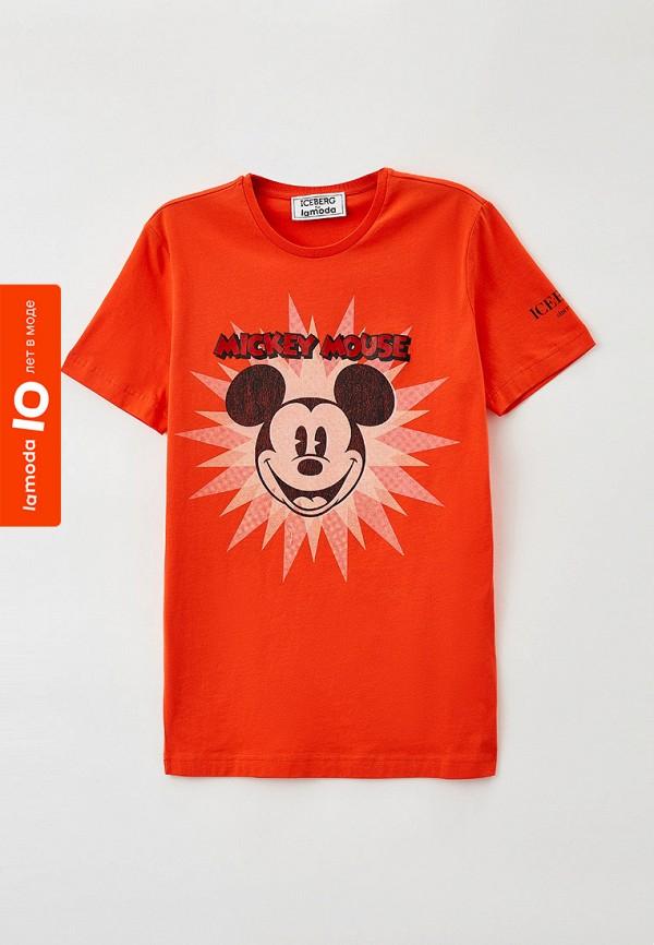 женская футболка iceberg, оранжевая