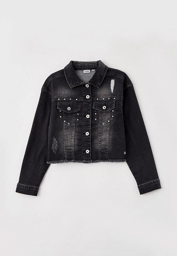 джинсовые куртка blukids для девочки, черная