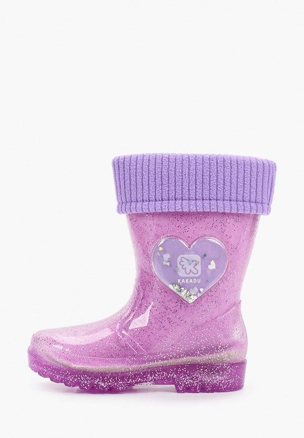 резиновые сапоги kakadu для девочки, фиолетовые